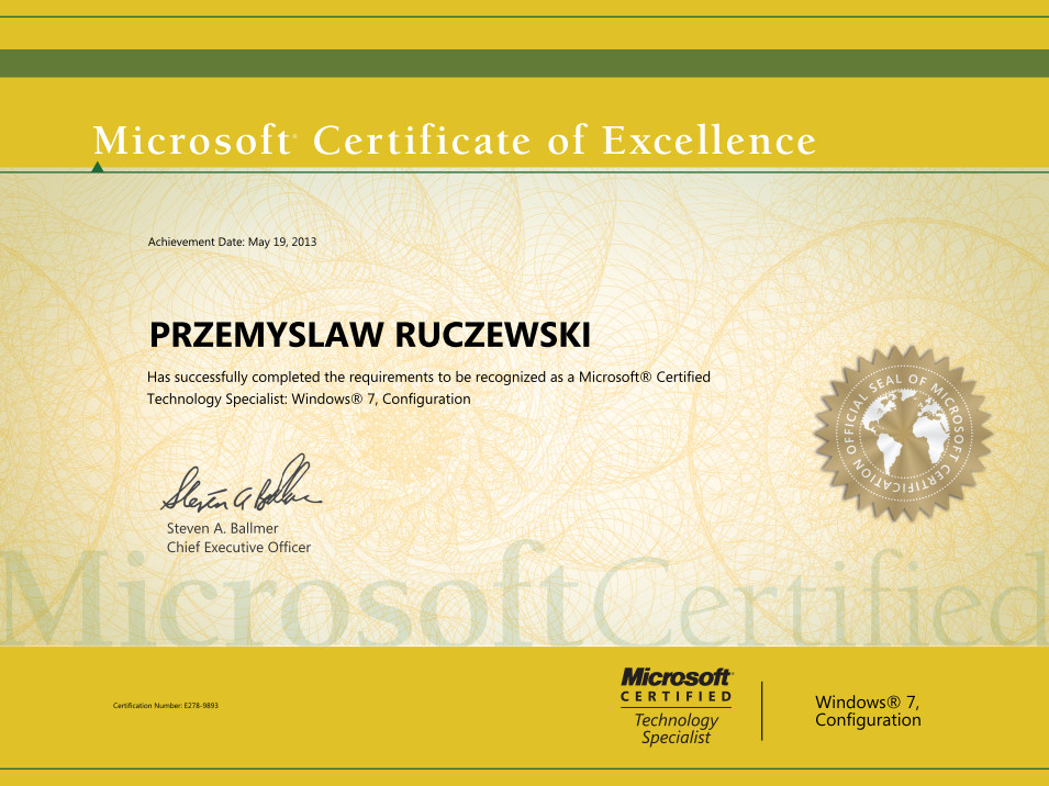 Microsoft Certified Technology Specialist: Windows 7 Configuration